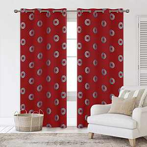 Deconovo Grommet Christmas Blackout Curtains Silver Foil Concentric Circles Printed Thermal Insulated Energy Saving Drapes for Sliding Glass Door 52W x 108L Inches Red 2 Panels