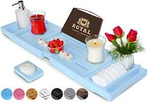 ROYAL CRAFT WOOD Luxury Bathtub Caddy Tray - Limited Edition, Bonus Free Soap Holder (Blue)