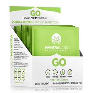 Go Energy Drink by MANTRA Labs - Hydration Powder with Vitamins and Electrolyte Supplements for Natural Energy and Recovery, Keto and Paleo Diet* (Tropical Berry) (10 Pack)