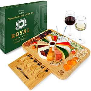 """Bamboo Cheese Board and Knife Set - Wooden Charcuterie Platter & Serving Tray with Cutlery (17"""" x 13"""" x 1.2"""")"""