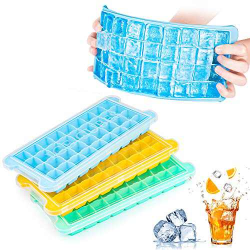 Ice Cube Trays Silicone with Lids 3 Pack, Easy Release Flexible Ice Cube Molds,36 Cubes Per Tray for Cocktail, Whiskey, Baby Food, Chocolate, BPA Free(Yellow/Blue/Green)