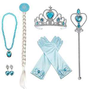 HUA ANGEL Princess Dress up Accessories for Girls Princess Costume Accessories Set,Gloves Crown Wand Necklace Earring Braid Wig