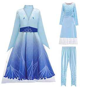 HUA ANGEL Princess Costume Dress for Girls Snowflakes Party Princess Suits (3Pcs) for Halloween Cosplay Party Blue