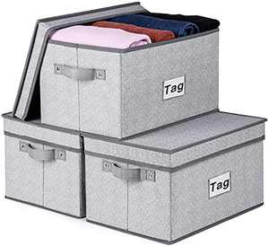 """Kntiwiwo Fabric Storage Bins with Lids Large Rectangle Storage Baskets for Closet Shelves Decorative Foldable Storage Boxes with Handles Labels for Home Bedroom Office 14.4""""x10""""x8.3"""" Grey Set of 3"""