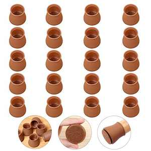 """【Upgrade】Ezprotekt 24 Pack Chair Leg Floor Protectors with Felt Pads Clear, Furniture Pads Silicone Chair Leg Cups Hardware Floor Protectors, Fits 1"""" to 1-3/16"""", Round Brown"""
