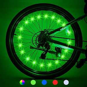 LET'S GO! Bike Lights for Wheels Gifts for Men Teens Boys Bike Lights Cool Toys Waterproof Bright Bicycle Light Cycling Bicycle Decoration Birthday Presents for Boys Easter Gifts 2 Tires, Green