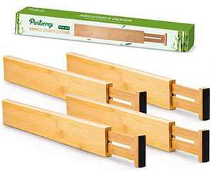 Purtuemy Large Bamboo Drawer Dividers(17-22 INCH) Kitchen Drawer Organizer, Spring Loaded Adjustable Separators Utensil Organizer for Kitchen Dresser Bedroom Bathroom Desk and Office, 4-Pack