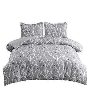 softan Bedding Duvet Cover Set with Zipper Closure & Corner Ties, Soft and Breathable Washed Microfiber Comforter Cover with Floral Pattern for All Seasons,2 PCS,Branch,Twin