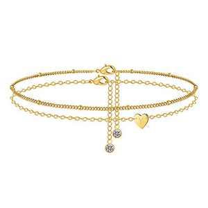 M MOOHAM Heart Initial Anklet Bracelets for Women, 14K Gold Filled Layered Ankle Bracelets Initial Anklet for Women Anklets with Initials Y