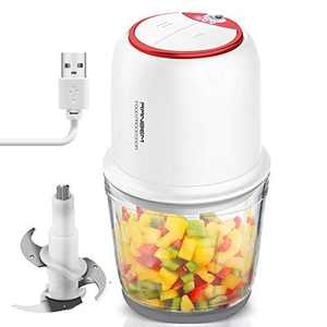 Small Food Processor, Cordless Chopper - 2.5Cup Mini Electric Food Chopper with Glass Bowl for Vegetables, Onion, Garlic, Salsa, Meat, Baby Food, Puree 2 Speed White