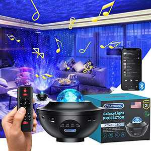 Starlight Projector - Galaxy Night Light | CRAFTRONIC 360 Sky LED Nebula Cloud Ocean Wave | Pro Space Universe Space Star Laser | Bedroom Room Ceiling, Built-in Music, Speaker Voice, Remote Control
