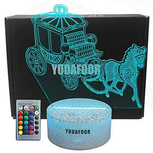 YODAFOOR Horse Drawn Carriage Night Lights for Kids 3D Night Light Bedside Lamp 16 Colors Changing with Remote Control Horse Birthday for Boys Girls Kids Baby (Horse Drawn)