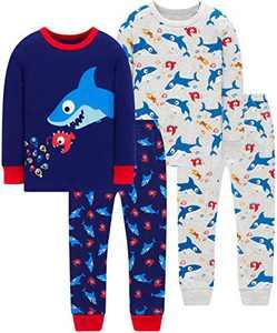 Little Boys Shark Pajamas Christmas Toddler Kids 4 PCs Pyjamas Cotton Sleepwear 3t