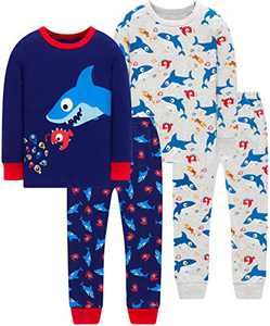 Little Boys Shark Pajamas Christmas Toddler Kids 4 PCs Pyjamas Cotton Sleepwear 10 Years