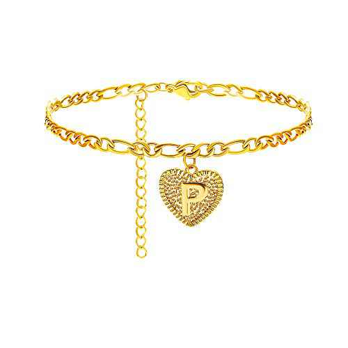 Gold Initial Anklet Silver Ankle Bracelets for Women Letter Anklet with Initials Figaro Chain Anklets A-Z Foot Jewelry Silver Gold Anklets for Women