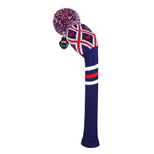 Scott Edward 1 Piece Knitted Golf Head Cover for Wood,Driver Wood(460cc) Fairway Wood/Hybrid,Soft, Washable, Anti-Pilling, Anti-Wrinkle, Long Neck (Blue Argyle, Driver)