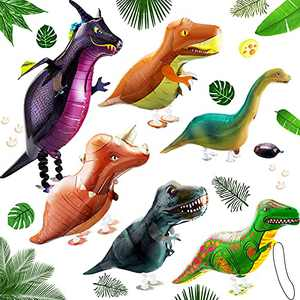 6 Pieces Walking Dinosaur Balloon Walking Animal Balloon Helium Foil Balloons Large Dinosaur Balloon for Animal Dinosaur Theme Birthday Party Kids Party Favors and Shop Decoration