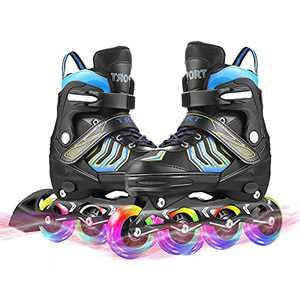 Adjustable Inline Skates Toddler Blade Skate for Boys Girls Ages 6-12 Light Up Blades Roller Skates for Teens Beginners Outdoor Indoor Inline Blade Skate Size 7