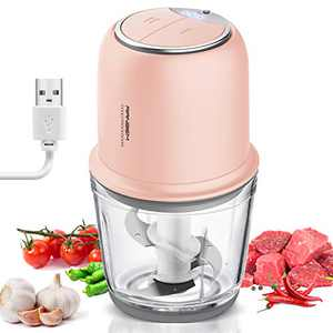 Small Food Processor, Cordless Chopper - 2.5Cup Mini Electric Food Chopper with Glass Bowl for Vegetables, Onion, Garlic, Salsa, Meat, Baby Food, Puree 2 Speed Pink
