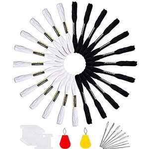 Embroidery Floss 24 Skeins Embroidery Thread Rainbow Color Friendship Bracelet String Premium Black and White Embroidery Floss with 10 Pieces Floss Bobbins 2 Needle Threader and 9 Cross Stitch Needles