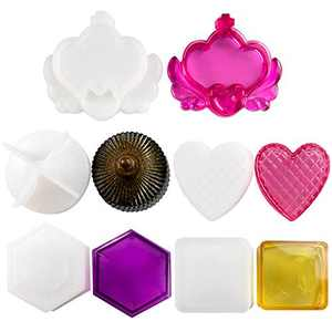 Box Resin Molds, 5 Sets Resin Jewelry Box Molds with Round Resin Mold, Crown Epoxy Molds, Resin Mold Square, Heart Box Mold, Hexagon Shape Silicone Molds for Resin Casting