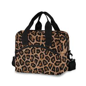 Lunch Bag Insulated Lunchbox Handbag Tote Bags Reusable Cooler Containers Organizer School Outdoor for Women Men Girls Boys Kids (shoulder leopard)