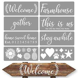 Stencils for Painting on Wood - Welcome Stencil - Large Stencils - Wood Stencils - Stencils for Signs - Farmhouse Stencils - Reusable Stencils - Alphabet, Cursive Stencils - Word Stencils