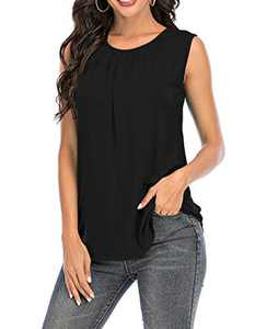 AMCLOS Womens Sleeveless Tanks Tops Tunic Summer Casual Soft T-Shirts Flowy Pleat Blouses(Black,S)