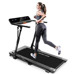 Foldable Treadmill Folding Treadmills for Small Spaces Portable Under Desk Small Manual Treadmills for Home 300 Lbs Weight Capacity Installation Free with Bluetooth Speaker Led Display