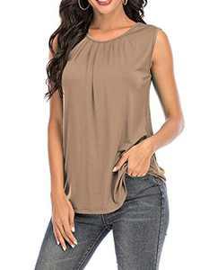 AMCLOS Womens Sleeveless Tanks Tops Tunic Summer Casual Soft T-Shirts Flowy Pleat Blouses(Light Coffee,XL)