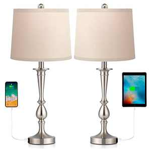Befano Table Lamp, Fabric Bedside Lamp with 2 USB Ports Flaxen Fabric Shade, Lamps for Bedrooms Minimalist Design for Living Room - (Set of 2 Table Lamps)