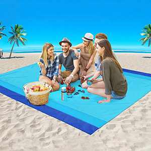 """AISPARKY Beach Blanket, Large Sandproof Picnic Blanket Compact for 4-7 Persons Waterproof Quick Drying Beach Mat Made by Premium Nylon Pocket Picnic Sheet for Outdoor Travel (78"""" X 81"""")"""