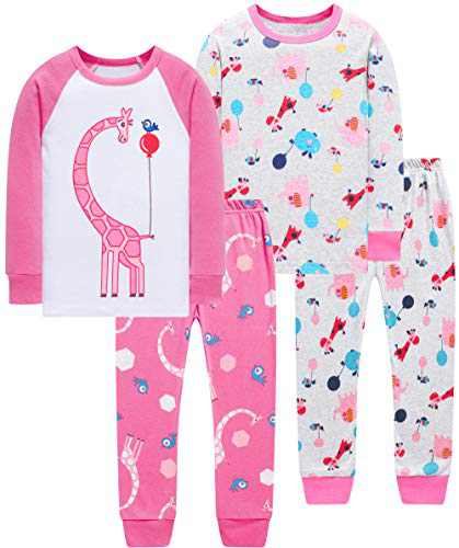 Girls Christmas Pajamas Toddler Kids Giraffe Pjs Children 4 PCs Pyjamas Long Sleeve Pants Set 6t