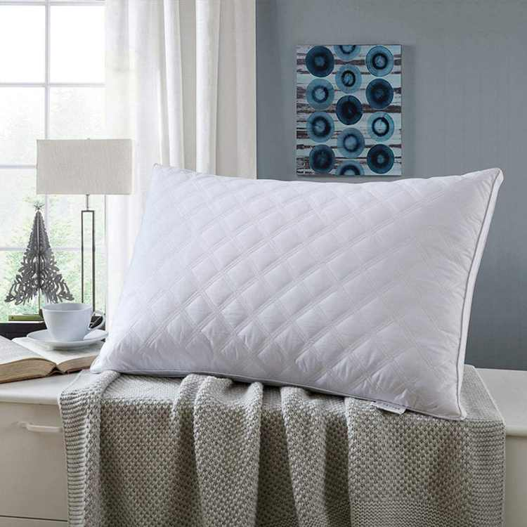 Luxury Soft Pillows Pack of 2 for Sleeping 100% Cotton Cover Microfiber Filling Washable Standard Pillow for Deep Sleep