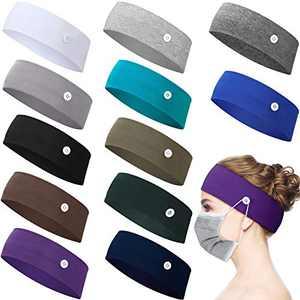 12 Pieces Button Headband Holder Non Slip Nurse Headbands Multicolored Ear Protection Holder for Men Women Ear Protection (Mixed Colors, L)