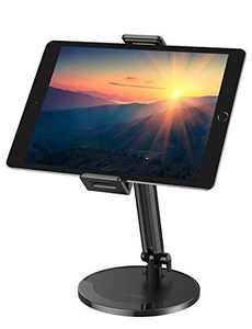 Tablet Stand Adjustable, OMOTON 360°Swivel iPad Stand, Aluminum Desktop Stand Holder Dock Compatible with iPad Air New iPad, Samsung Tabs(up to 5.8''-10.5''), Headset and Cell Phones ,Black