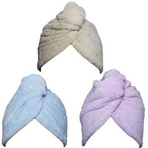 Hair Towel Wrap Turban 3 Pack Super Absorbent Microfiber Quick Dry Hair Towel with Button, Dry Hair Hat, Wrapped Bath Cap 26inch/10inch Blue/Coffee/Purple