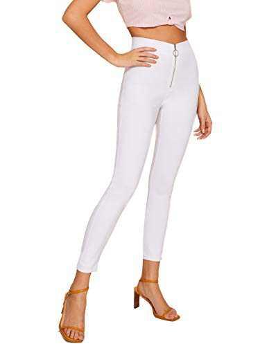 WDIRARA Women's High Waist Zip Front Stretch Skinny Jeans Casual Crop Leggings White M