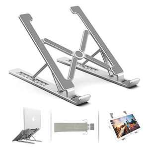 """Adjustable Laptop Stand, Ergonomic Double Triangular Desige Aluminum Ventilated Portable Tablet Stand Computer Stand, Compatible with MacBook, HP, 7 Height, More 11-17"""" Collapsible Laptops (Silver)"""