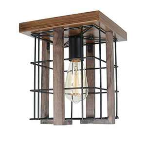 Baiwaiz Small Square Rustic Ceiling Light, 1-Light Black Metal and Wood Farmhouse Flush Mount Ceiling Lighting Industrial Wire Cage Light Fixture Edison E26 125