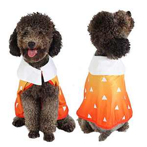 Coomour Cute Dog Costume Pet Funny Anime Cloak Cartoon Costume Cute Cat Cosplay Cape for Small to Large Dogs Cats Clothes (Large, Orange)