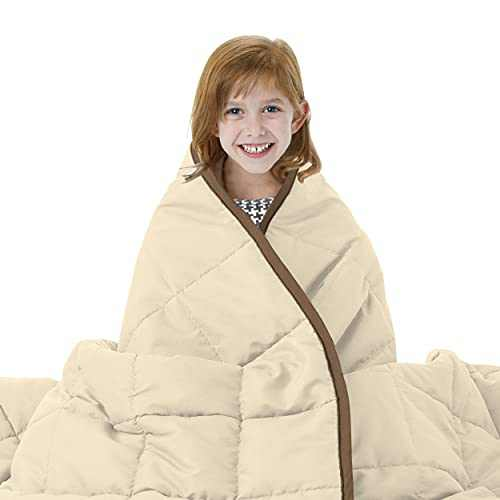 Joyching Weighted Blankets for Adults Twin Reversible Cooling Heavy Blanket 48x72 inches 12 lbs Super Soft Microfiber Material with Premium Glass Beads (Brown/Khaki)