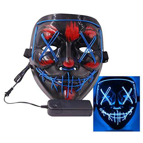 ThEast Halloween Face Masks LED Light Up Purge Mask for Festival Novelty and Creepy Cosplay Costume (Blue)