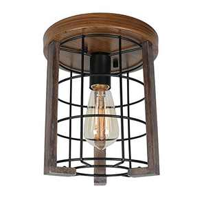 Baiwaiz Mini Round Rustic Close to Ceiling Lighting, 1-Light Black Metal and Wood Farmhouse Flush Mount Ceiling Lights Small Industrial Wire Cage Light Fixture Edison E26 122