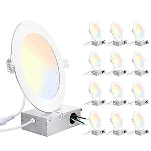 12 Pack 6 Inch LED Recessed Ceiling Light with Junction Box, 3000K 4000K 5000K Color Temperature Adjustable, 15W Eqv 150W, 1400LM High Brightness Dimmable Can-Killer Ultra Slim Downlight