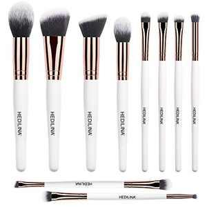 Makeup Brush Set - HEDILINA 10 pcs Makeup Brushes, Blush Contour Angled Eyeshadow Shader Concealer Eyebrow Brush Dual-end Brush
