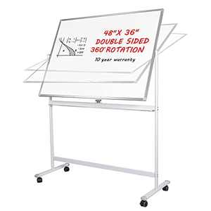 Magnetic Whiteboard - 48x36 Large Dry Erase Board with Stand, Double Sided Rolling Easel White Board on Wheels for Home, Office and Classroom by WEICHA