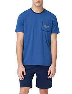 SANQIANG Men's Cotton Short Pajamas Set with Pocket Grey Sports Lounge Sleepwear