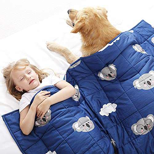Joyching Weighted Blanket Kids 5 lbs 36x48 inches Egyptian Cotton 600TC Toddler Weighted Blankets, Weighted Throw Blankets for Child Size Bed with Glass Beads Printed Blue Koala