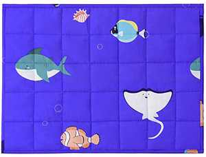 Joyching Weighted Lap Pad for Kids Pets 20 x 30 inches, 5lbs 600TC Egyptian Cotton Weighted Blanket for Reading with Glass Beads Blue Sea